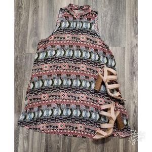 3/$30 Boho Print Mock Neck Open Back Swing Dress